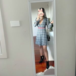 Bardot Longsleeve Check  Plaid Skater Dress Size XS